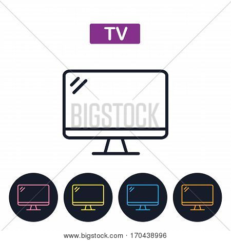 VectorTV icon. Simple thin line icon for websites web design mobile app infographics.