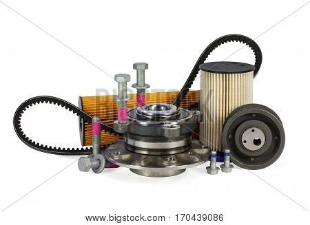 Parts for cars on a white background