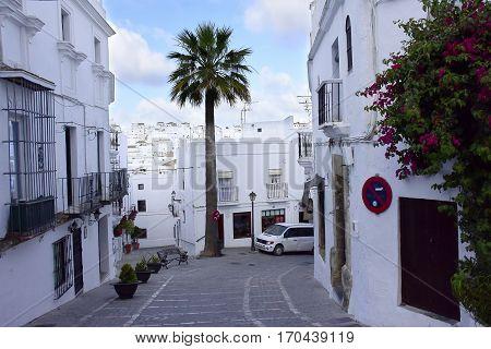 a narrow street in Vejer de la Frontera Spain.