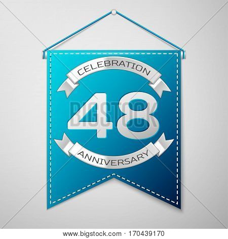Blue pennant with inscription Forty eight Years Anniversary Celebration Design over a grey background. Silver ribbon. Colorful template elements for your birthday party. Vector illustration