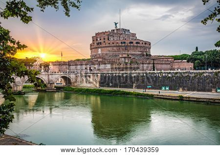 sant ' angelo castle at sunset in Rome