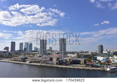 Skyline of Tampa Florida from the harbor