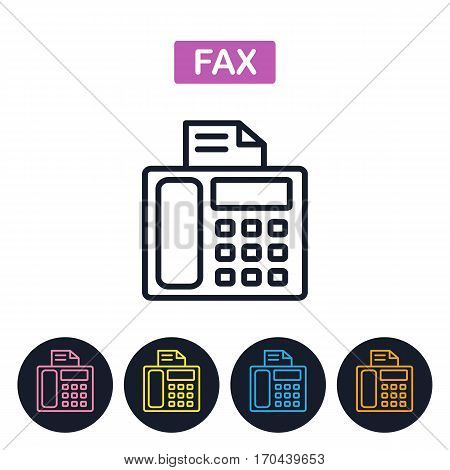 Vector fax machiner icon. Fax imaige. Simple thin line icon for websites web design mobile app infographics.