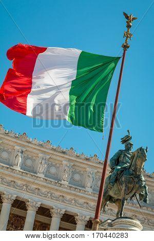 the italian flag and statue of Garibaldi