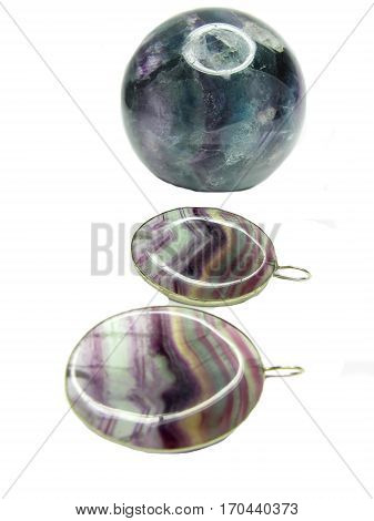fluorite semigem geode crystal and earrings geological mineral isolated