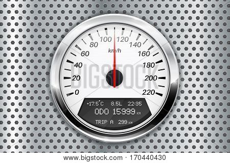 Speedometer. On metal perforated background. Vector illustration