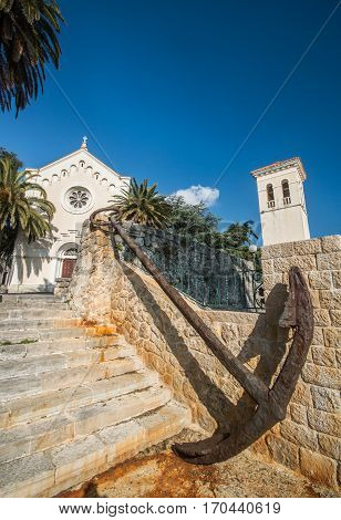 The Catholic Church of St Jerome in old town Heceg Novi and the anchor