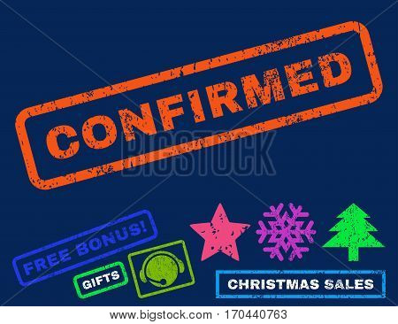 Confirmed text rubber seal stamp watermark with bonus new year symbols. Tag inside rectangular shape with grunge design and dust texture.