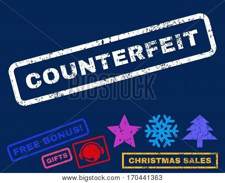 Counterfeit text rubber seal stamp watermark with bonus christmas symbols. Tag inside rectangular banner with grunge design and dirty texture.