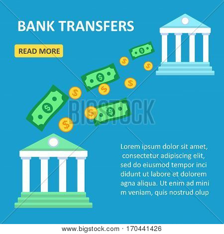 Vector illustration. Banks wireless money transfer. Online transfers between banks. Flat design.