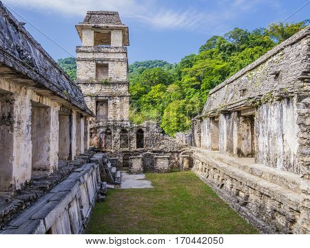 Palenque ancient mayan ruins, Palace and Observation Tower, Chiapas, Mexico
