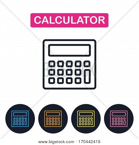 Vector calcuator  icon. Gaget imaige.  Simple thin line icon for websites, web design, mobile app, infographics.