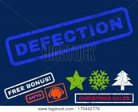 Defection text rubber seal stamp watermark with bonus new year symbols. Tag inside rectangular banner with grunge design and unclean texture.