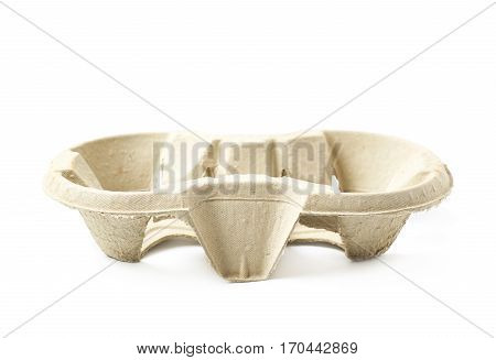 Pressed cardboard paper double cup holder isolated over the white background