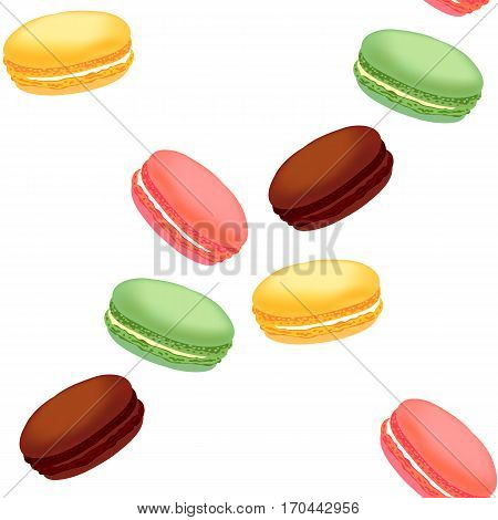 Seamless pattern with colorful macaroon cookies. French dessert with different tastes and bright colors. Can be used for menu, for posters, wallpapers, wrapping paper. Vector illustration.