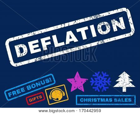 Deflation text rubber seal stamp watermark with additional bonus new year symbols. Caption inside rectangular shape with grunge design and dust texture.