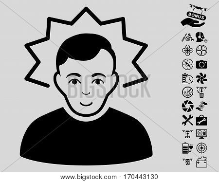 Inventor icon with bonus drone tools pictograms. Vector illustration style is flat iconic black symbols on light gray background.