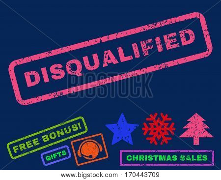 Disqualified text rubber seal stamp watermark with additional bonus new year symbols. Tag inside rectangular shape with grunge design and scratched texture.