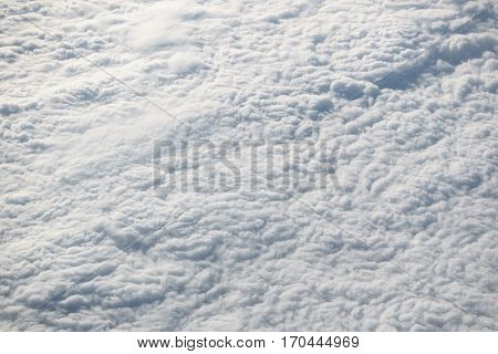 Aerial view of a thick layer of clouds