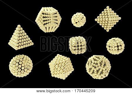 Gold nanoparticles of different shapes, 3D illustration