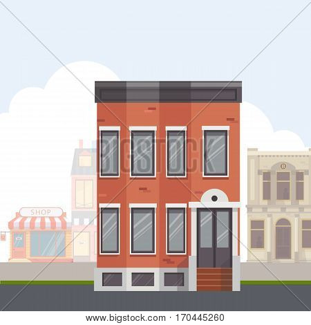 Building on the street.City street with urban buildings.Flat vector illustration.