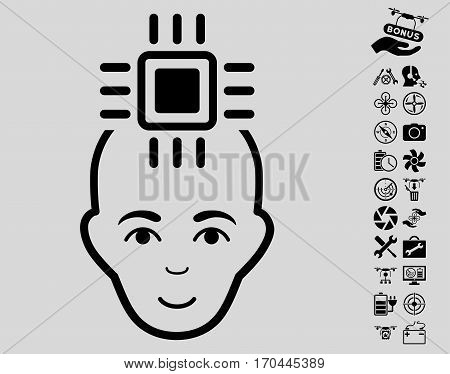 Neural Computer Interface icon with bonus quad copter tools pictograms. Vector illustration style is flat iconic black symbols on light gray background.