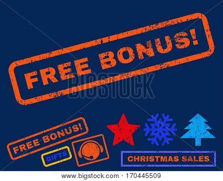 Free Bonus exclamation text rubber seal stamp watermark with bonus new year symbols. Caption inside rectangular shape with grunge design and unclean texture.