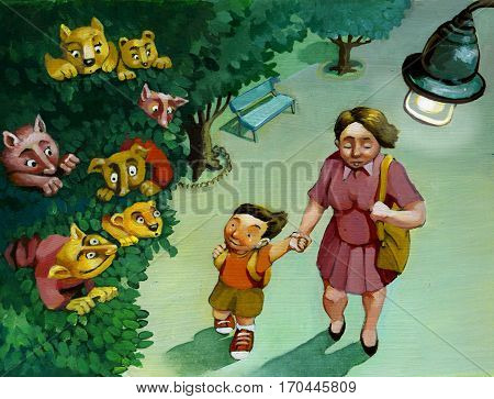 an evening stroll mom and son and the son sees in the foliage of trees fantasy characters