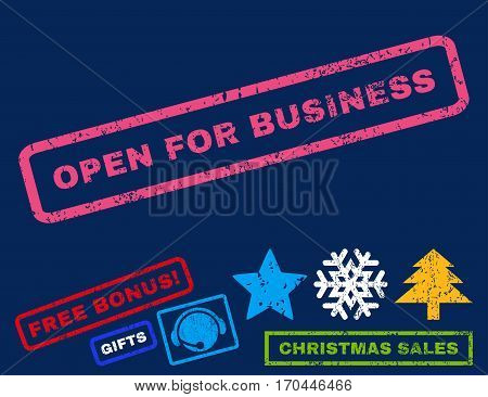 Open For Business text rubber seal stamp watermark with bonus christmas symbols. Tag inside rectangular banner with grunge design and dirty texture.