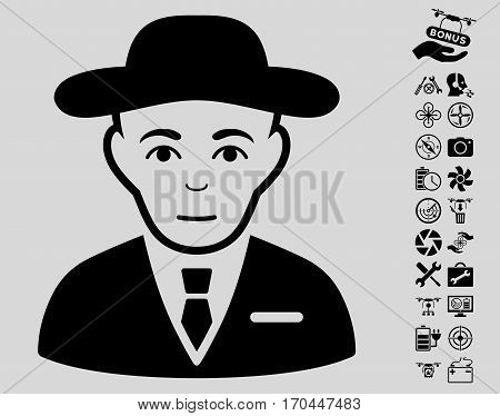 Secret Service Agent pictograph with bonus uav tools pictures. Vector illustration style is flat iconic black symbols on light gray background.