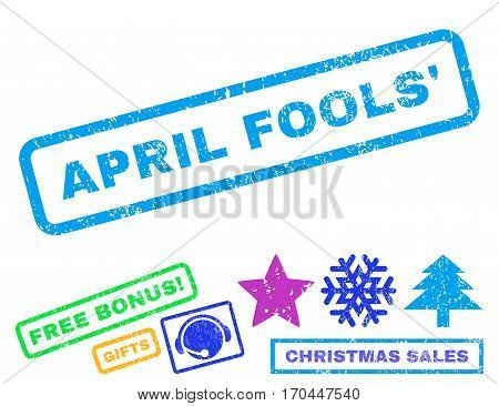 April Fools text rubber seal stamp watermark with bonus christmas symbols. Tag inside rectangular shape with grunge design and dirty texture.