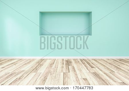 Blank blue wall interior with ligt shadow from windows