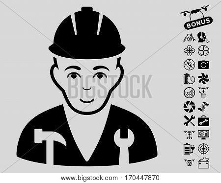 Serviceman icon with bonus quadrocopter tools icon set. Vector illustration style is flat iconic black symbols on light gray background.