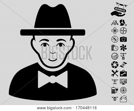 Spy pictograph with bonus drone tools icon set. Vector illustration style is flat iconic black symbols on light gray background.