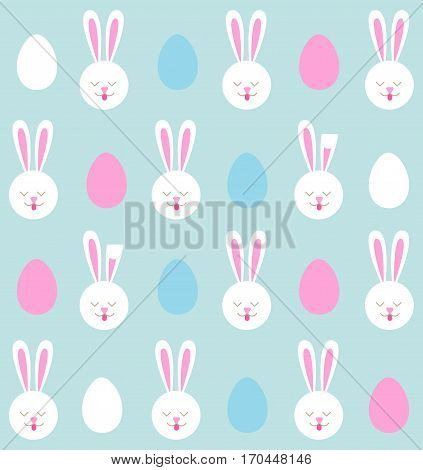 Seamless pattern of Easter bunnies and colored eggs.