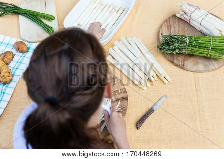White And Green Asparagus, Topview