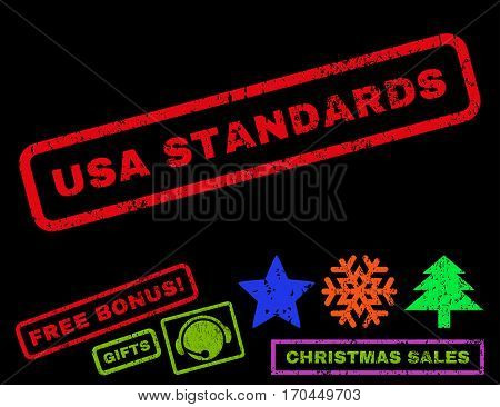 USA Standards text rubber seal stamp watermark with additional bonus christmas symbols. Caption inside rectangular shape with grunge design and dirty texture.
