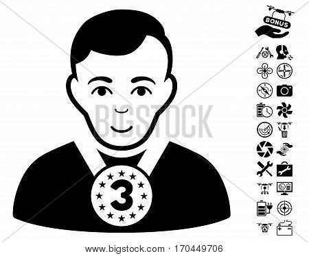 3rd Prizer Sportsman pictograph with bonus flying drone tools design elements. Vector illustration style is flat iconic black symbols on white background.