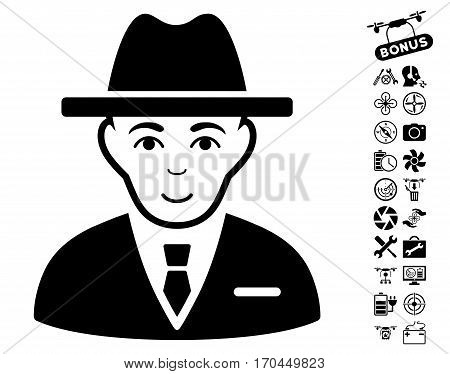 Agent pictograph with bonus quadrocopter tools clip art. Vector illustration style is flat iconic black symbols on white background.