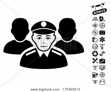 Army Team pictograph with bonus drone tools pictograph collection. Vector illustration style is flat iconic black symbols on white background.