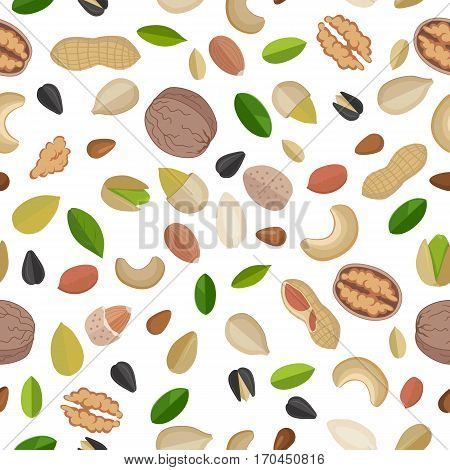 Vector seamless pattern with nuts and seeds. Flat design. Traditional snack. Healthy food. Ornament for wallpaper, polygraphy, textile, web page design, surface textures. Isolated on white background.
