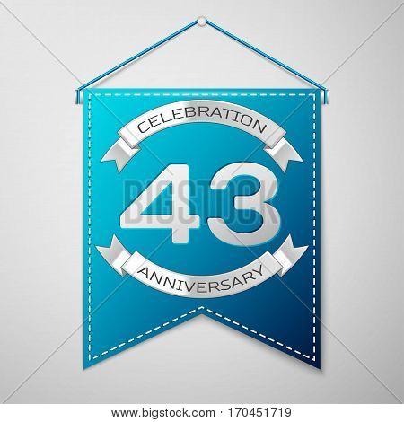 Blue pennant with inscription Forty three Years Anniversary Celebration Design over a grey background. Silver ribbon. Colorful template elements for your birthday party. Vector illustration