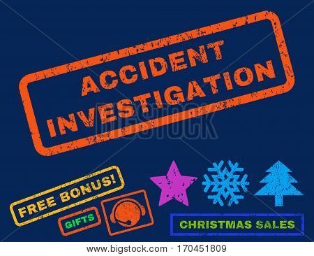 Accident Investigation text rubber seal stamp watermark with bonus new year symbols. Tag inside rectangular shape with grunge design and scratched texture.