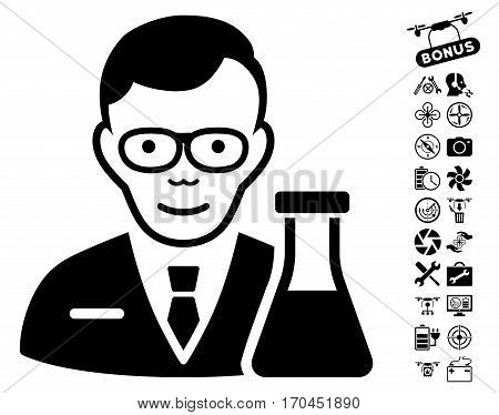 Chemist pictograph with bonus airdrone tools graphic icons. Vector illustration style is flat iconic black symbols on white background.