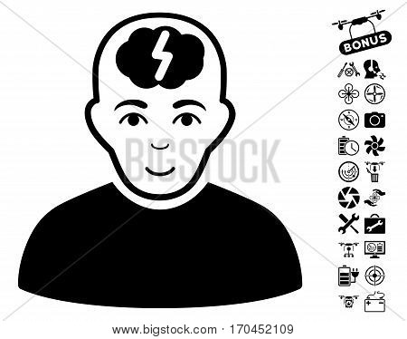 Clever Boy pictograph with bonus nanocopter tools icon set. Vector illustration style is flat iconic black symbols on white background.
