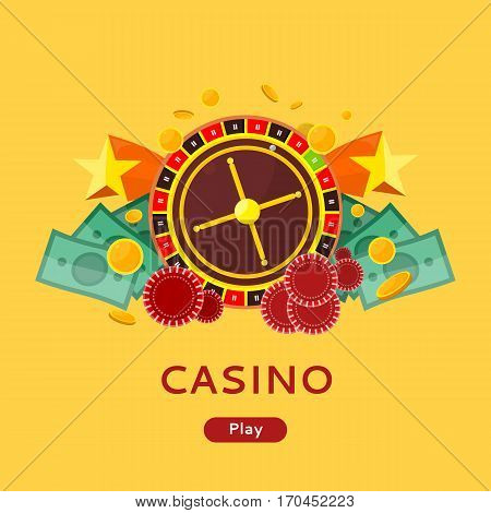 Casino gambling website template. European roulette wheel, chips and money on yellow background. Banner for online casino. Vector illustration in flat style. Casino background