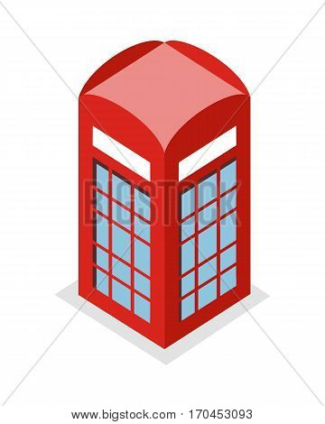 Call box vector illustration in isometric projection. Picture for architectural, historical concepts, web, app, icons, infographics, logotype design. Isolated on white background.