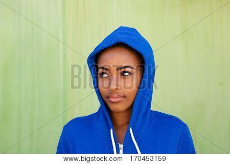 Beautiful Young Black Woman Glancing Away