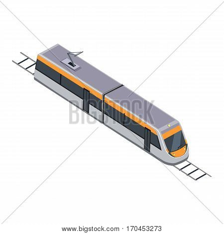 Subway train isolated on white. Vehicles designed to carry large numbers of passengers. High speed inter-city commuter train. Public electric transport. Part of series of city isometric. Vector