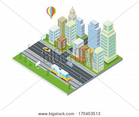 Eco city design. Sustainable, clean town with skyscraper buildings, houses, road, traffic system, air balloon. Modern architecture. Office apartment and nature. Part of series of city isometric. Vector
